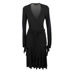 Iconic DVF Black Long Sleeve Wrap Midi Dress